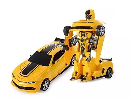 Flyers Bay Troopers RC Transforming Car cum Robot Simulation Model with Sound Light - Yellow-3