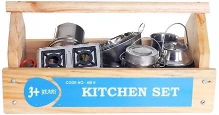 Little Genius Steel Kitchen Set With Wooden Container-7