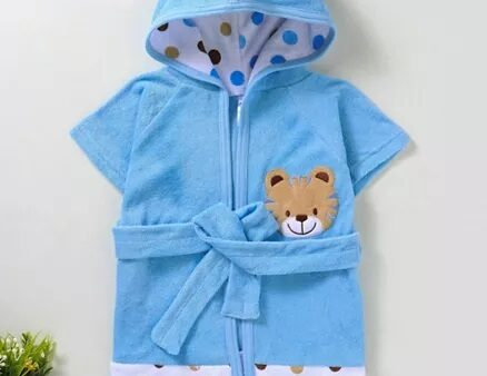 Pink Rabbit Hooded Bath Robe Tiger Patch - Blue-3