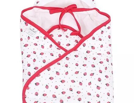 Tinycare Hooded Wrappper Strawberry Print - Pink-4