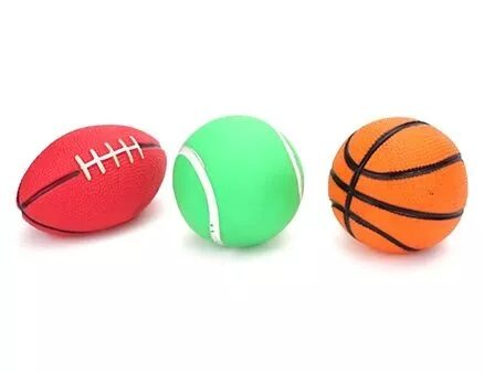 Ratnas Squeaky Toys Sports Ball 3 Pieces (Color Shape & Design May Vary)-9