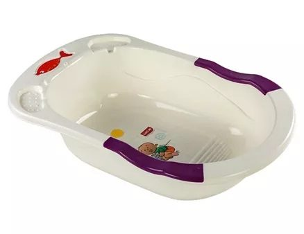 LuvLap Bathtub Baby & Kitty Print White Purple-7