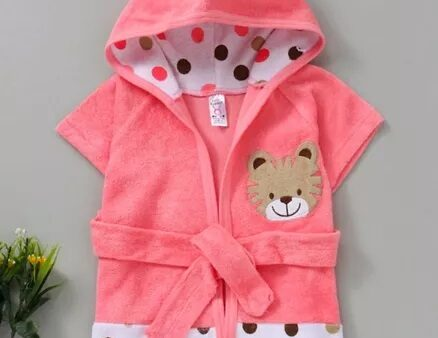 Pink Rabbit Hooded Bath Robe Tiger Patch - Pink-3